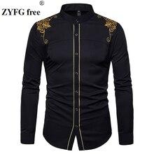 Degli uomini di formato di UE casual camicia A Maniche Lunghe basamento del collo di stile Cinese top camicie Maschio del ricamo modello in Cotone miscela camicie
