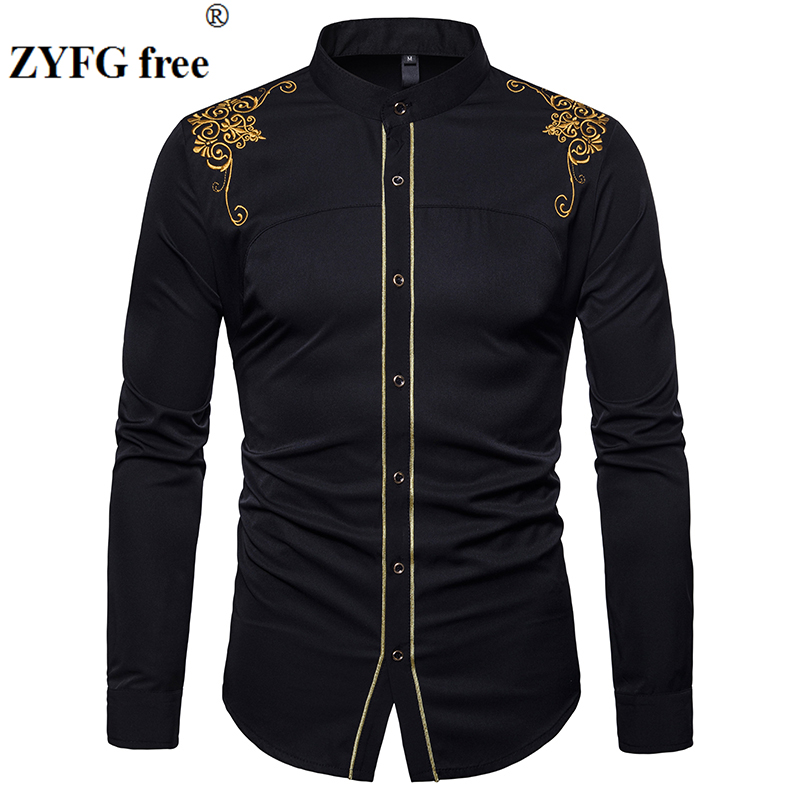 EU Size Men's Casual Long Sleeved Shirt Stand Neck Chinese Style Tops Shirts Male Embroidery Pattern Cotton Blend Shirts