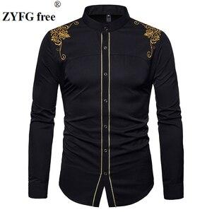 Image 1 - האיחוד האירופי גודל גברים של מזדמן ארוך שרוולים חולצה stand צוואר סיני סגנון חולצות חולצות זכר רקמת דפוס כותנה תערובת חולצות