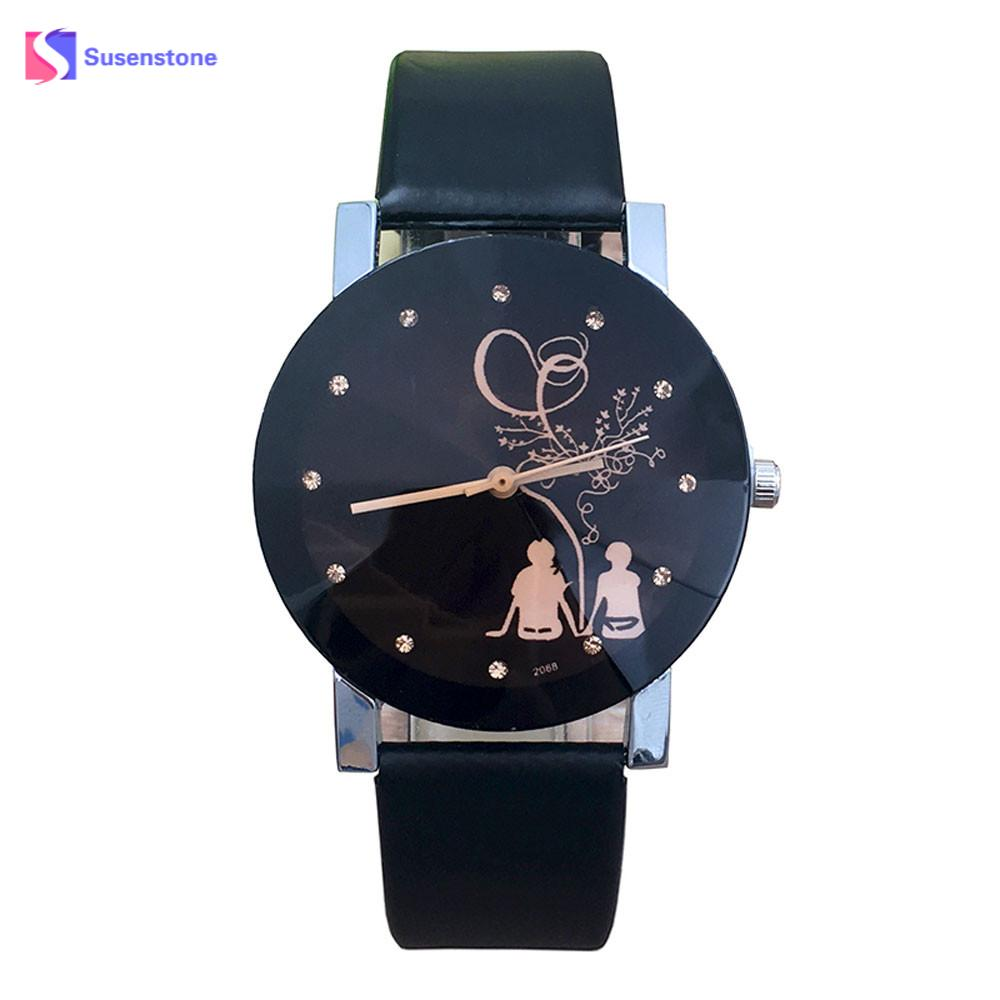 New Lover's Watch Stylish Student Couple Quartz Wrist Watch Love Witness Symbol Lovers Printed Glass Belt Quartz Watches Relogio