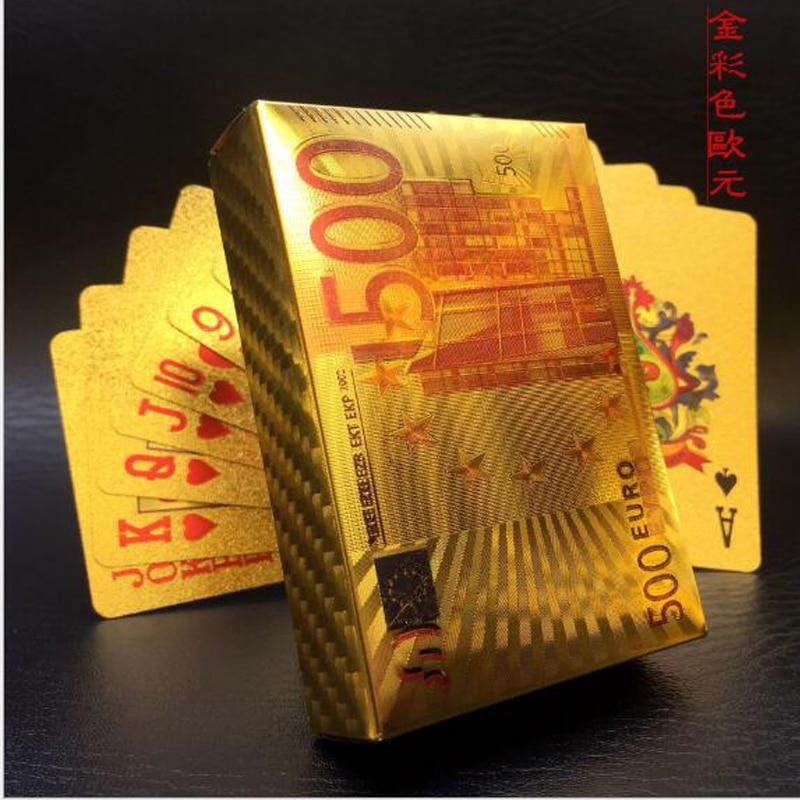 ยูโรเล่นไพ่บัตรพลาสติก 24 พันทองเล่นไพ่พีวีซี 100% กันน้ำบัตรเล่นพลาสติกคลับเกมชุบทองดาดฟ้าของขวัญ