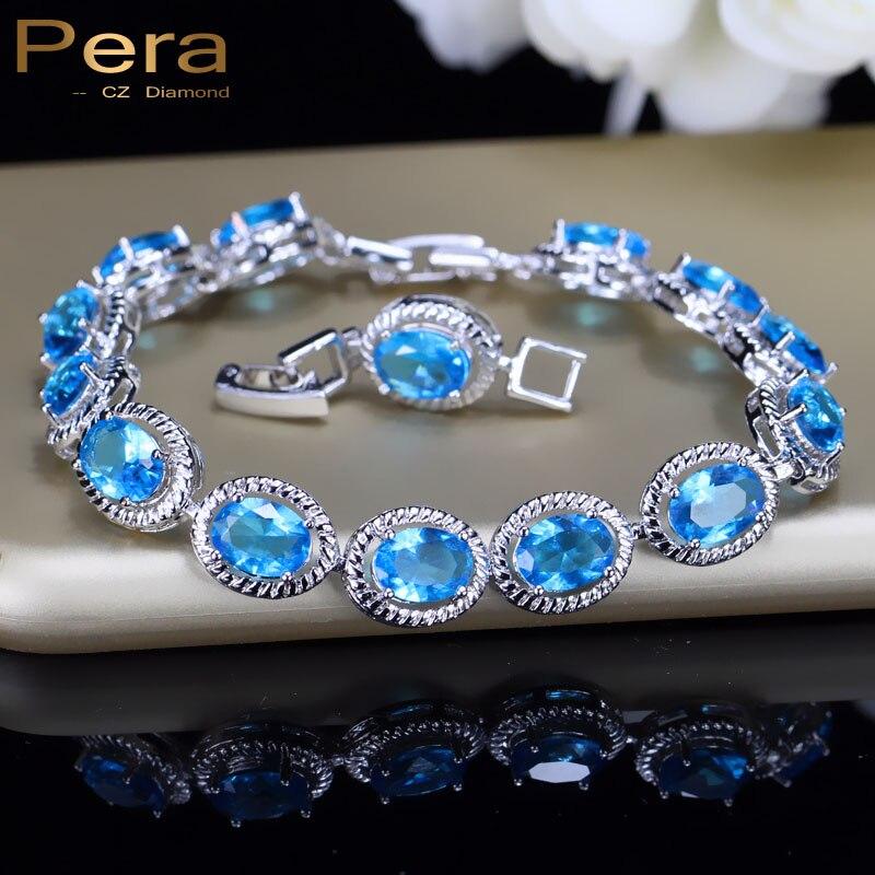 Pera Africa Nigerian Women Costume Light Blue Jewelry Big Round Surrounded Cubic Zirconia Stone Bangle Bracelet For Gift B080