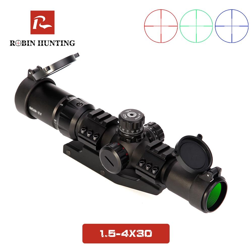 1.5-4x30 Tratical Hunting Riflescope RGB Illuminated Optical Sight Riflescope Illumination Adjustable Optic Rifle