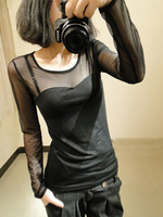 Fashion Trends Mesh Women Long Sleeve Tops Hot Sexy Transparent Black Lace Bottoming Shirts Punk Chic T Shirt Women