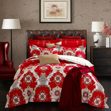 2018 Luxury European Red Bedding Linens Winter Thick Sets Sanding Cotton Queen King Size Duvet Cover Set Pillowcases