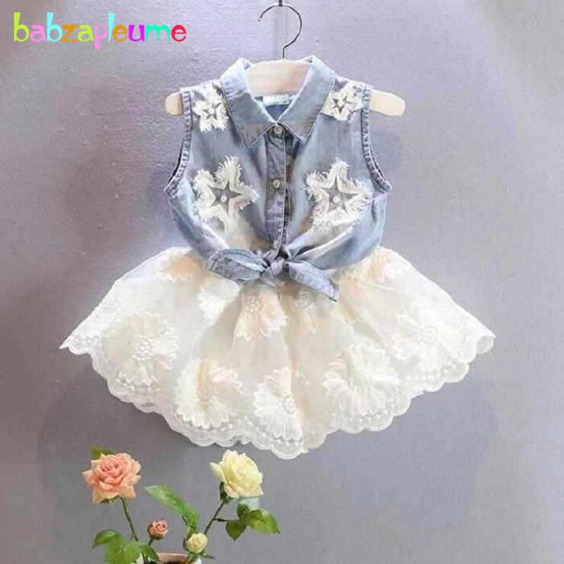 9da61fa93 2PCS/2-6Years/Summer Korean Fashion Kids Clothes Denim Baby T-shirt+Lace  White Skirt Girls Outfits Children Clothing Sets BC1017