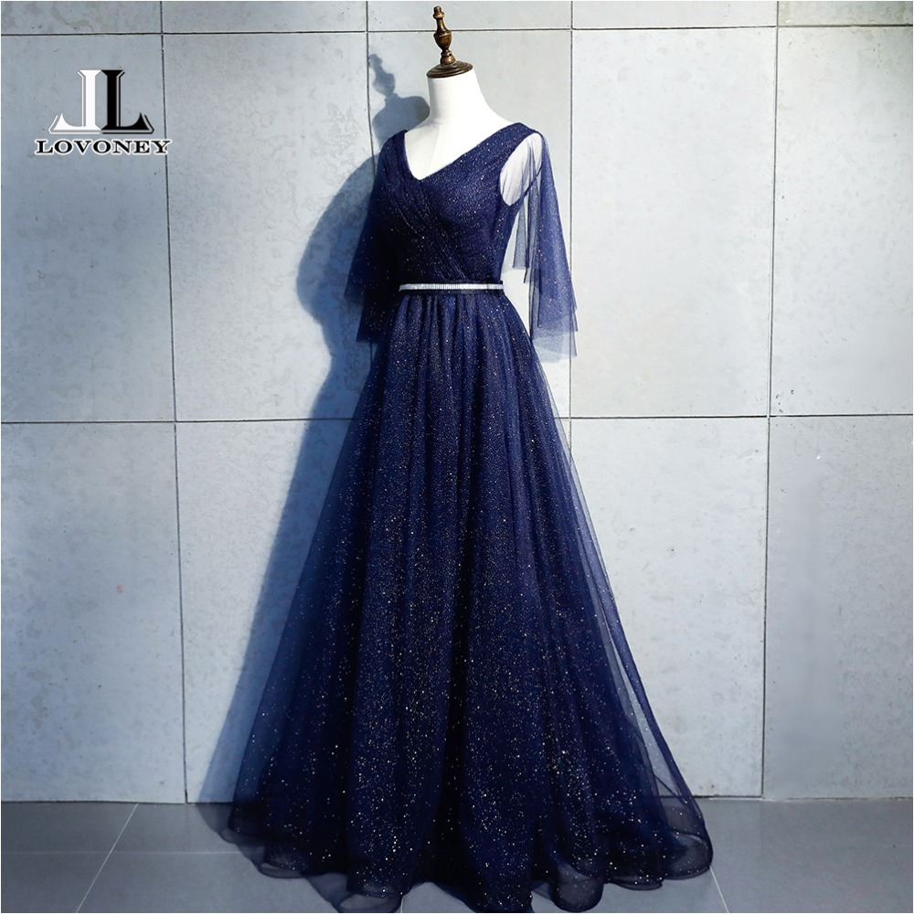 LOVONEY Elegant Half Sleeves Evening Dresses Long Lace Up Adjustable Formal Party Dress Evening Gowns Vestido