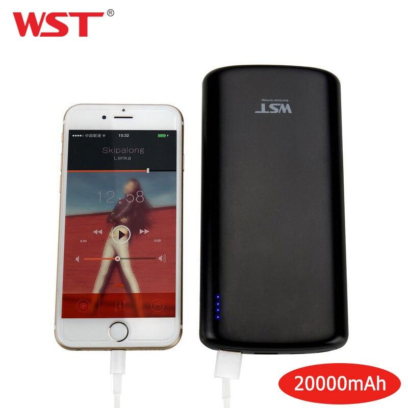 WST 20000 mAh batterie externe Portative Universelle De chargeur portatif à deux bornes usb 20000 mAh pour iPhone 8 7 6 plus chargeur de batterie Portable pour Samsung