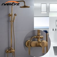 Shower Faucets Antique Color Bathroom Faucet Brass Bath Rainfall With Spray Shower Head Europe Faucet Bath Shower Set XT368