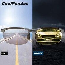 Üst alüminyum magnezyum fotokromik güneş gözlüğü erkekler sürüş polarize gözlük gündüz gece görüş sürücü gözlük gafas oculos de sol