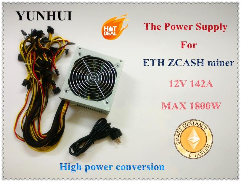 YUNHUI ETH ZCASH SC MINER Gold POWER 1800W BTC power supply for RX 470 /570 RX480/580 6 GPU CARDS 1