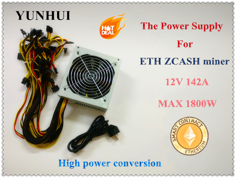 YUNHUI ETH ZCASH SC MINER Gold POWER 1800W BTC power supply for RX 470 /570 RX480/580 6 GPU CARDS new original gold power 1800w ethereum eth power supply for r9 380 rx 470 rx480 6 gpu cards 6 months warranty free shipping