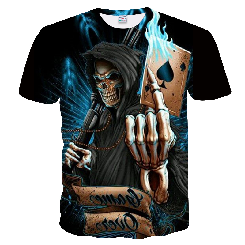 New 3d brain shell poker funny T-shirt men's casual 3d printed T-shirt for men's t-shirts in the summer and Europe. S-4XL.