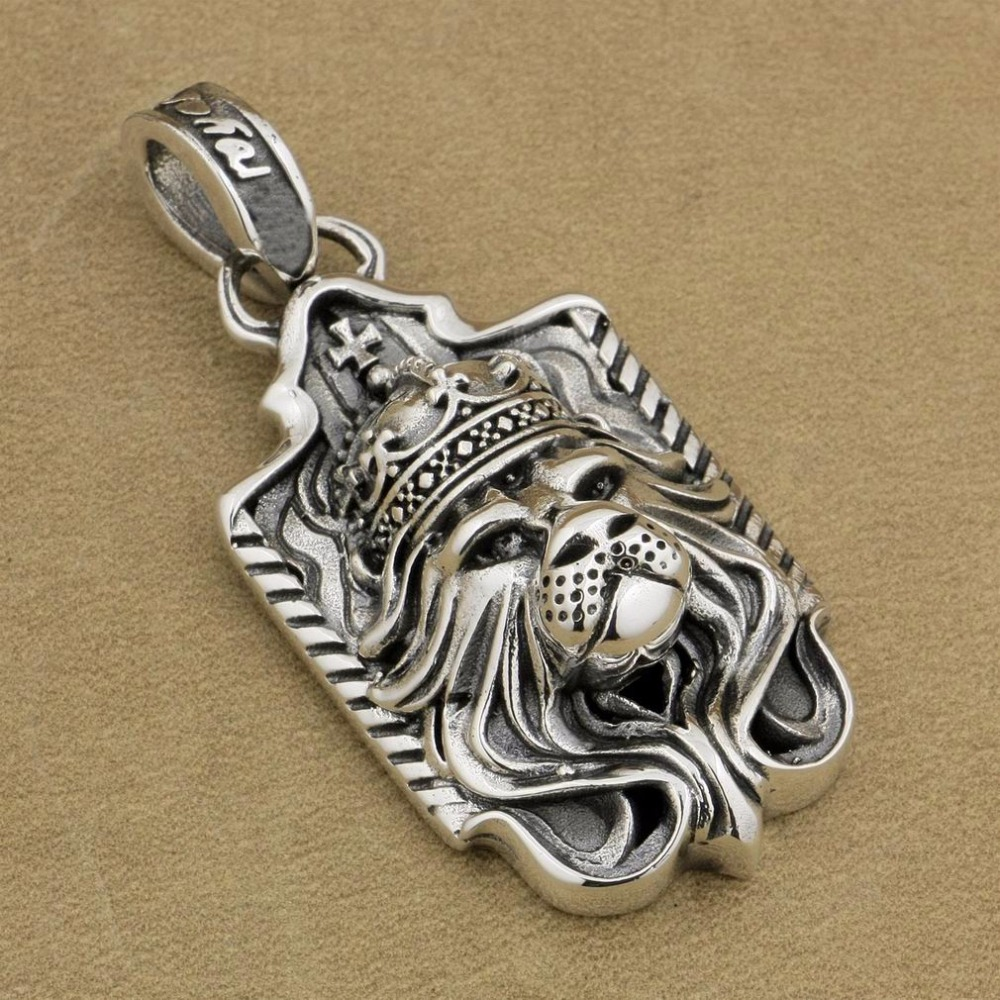 цена на LINSION 925 Sterling Silver Lion King Pendant Sword Cross Mens Biker Rock Punk Style 9M019