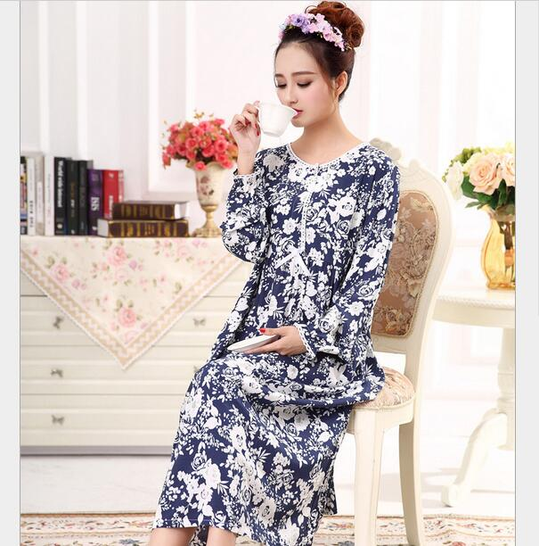 Fdfklak Long Sleeve Cotton Nightgowns Spring Autumn New Women Nightwear  Sleepwear Vintage Princess Nightgown Sleeping Dress Q413-in Nightgowns    Sleepshirts ... 183f566c2