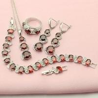 WPAITKYS אדום ערכות תכשיטים לנשים בצבע הכסף Zirconia מעוקב טבעת עגילי צמיד שרשרת אישה תכשיטי הקישוט תיבה בחינם
