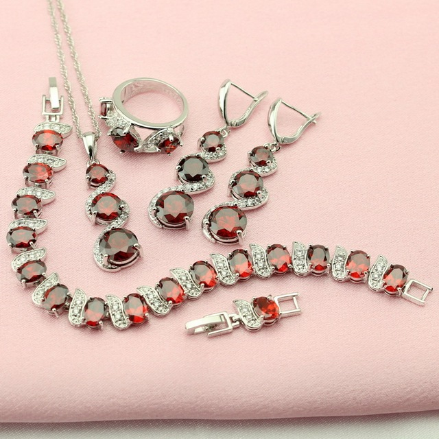 WPAITKYS Created Garnet Silver Plated Jewelry Sets For Women Adornment Jewelry Woman Earrings Bracelet Necklace Ring Free Box