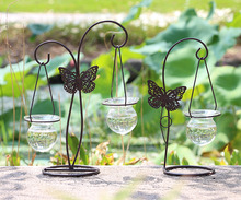1PC Butterfly Hydroponic Container Plant Glass Bottle Wrought Iron Decoration Flower Arrangement Container Hanging Vase JL 285