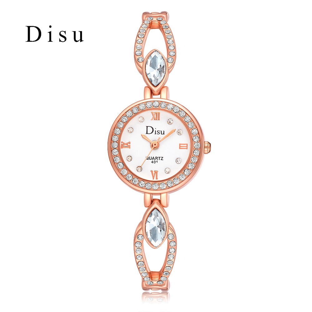 Disu Fashion Women Rose Gold Bracelet Watches Top Luxury Brand Watch Women Females Geneva Quartz Clock Ladies Wristwatch 2017 disu top brand 2017 men watches fashion simple quartz wrist watch business leather strap male sport rose gold dial clock ds039