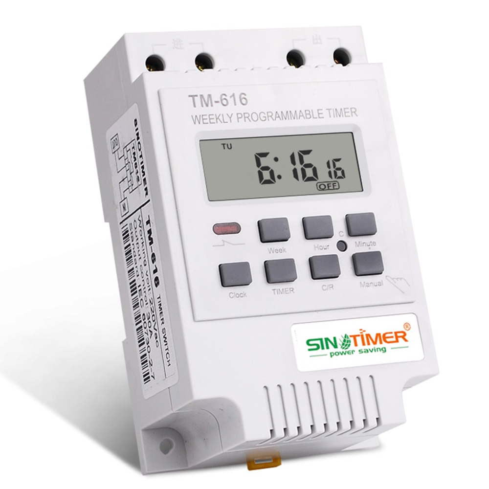 Sinotimer Tm616w-2 30a 220v Electronic Weekly Programmable Digital Time Switch Relay Timer Control Timer Din Rail Mount Counters