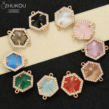 ZHUKOU 16x19 مللي متر موصلات مدببة من النحاس الزركونيوم أحادية اللون لقلادة يدوية الصنع ذاتية الصنع لصنع المجوهرات موديل: VS346