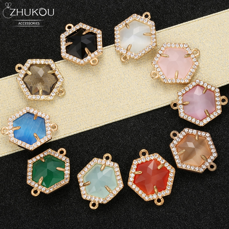 ZHUKOU 16x19mm Brass Cubic Zirconia Regular Hexagon Connectors For DIY Necklace Handmade Jewelry Making Findings Model:VS346