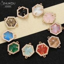 ZHUKOU 16x19mm Brass Cubic Zirconia regular Hexagon Connectors for DIY Necklace Handmade jewelry making findings model:VS346