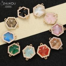 ZHUKOU 16x19mm Messing Zirconia regelmatige Zeshoek Connectors voor DIY Ketting Handgemaakte sieraden maken bevindingen model: VS346