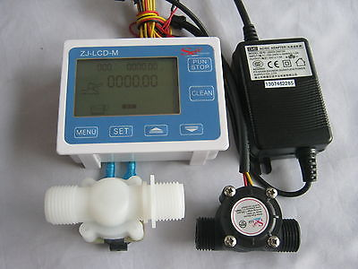 3/4 BSP Water Flow Control LCD Meter +Sensor +Solenoid valve +Power Adapter Kit