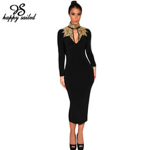 Happy Sailed autumn Black with Gold Silver Mock Neck long sleeves Sequins hot sale new sexy fashion women Pencil Midi Dress 6908