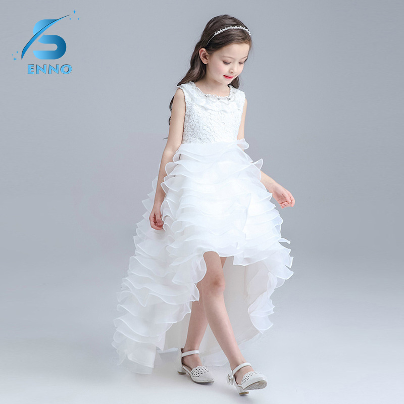 2018 Summer Flower Girls Dress Wedding Pageant Bridesmaid Gown Princess Party Pleated Criss Cross Dresses Girls Clothes long criss cross open back formal party dress