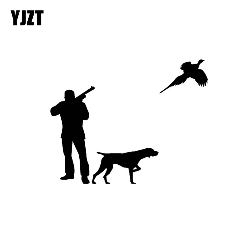 YJZT 15CM*11.6CM Hunters And Dogs Hunt Vinyl Car Sticker Decals Black/Silver C10-00442