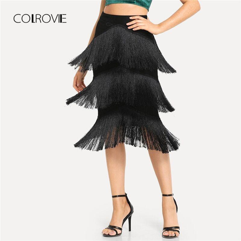 COLROVIE Black Solid Fringe Tassel Elegant Winter Bodycon Skirt Women 2018 Autumn Elegant Sexy Midi Skirts Female Bottoms