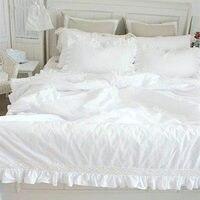 Американский wiostur изысканный комплект постельного белья falbala блок кружева высокий сатин хлопок постельные принадлежности пододеяльник с о