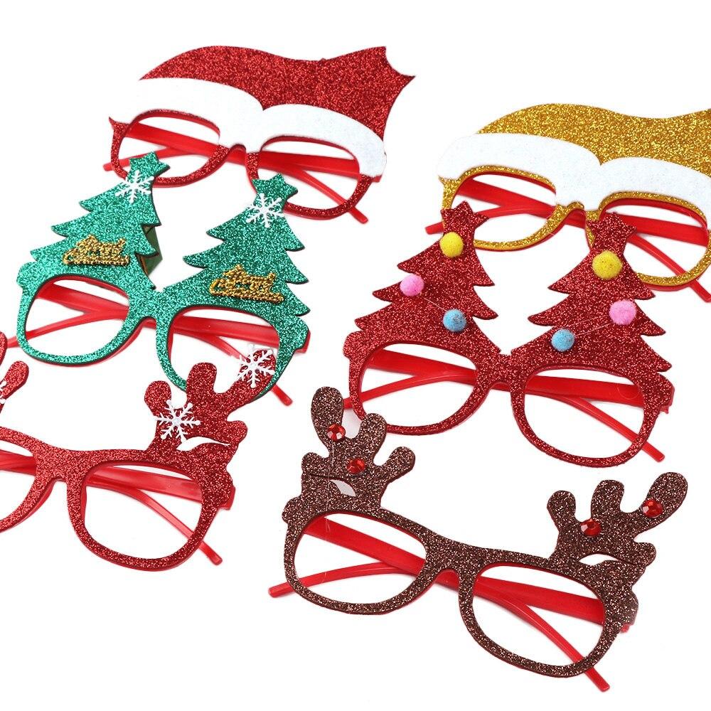 600 шт рождественские украшения для домашнего декора новогодние очки для детей Санта Клаус Олень снеговик рождественские украшения случайный - 5