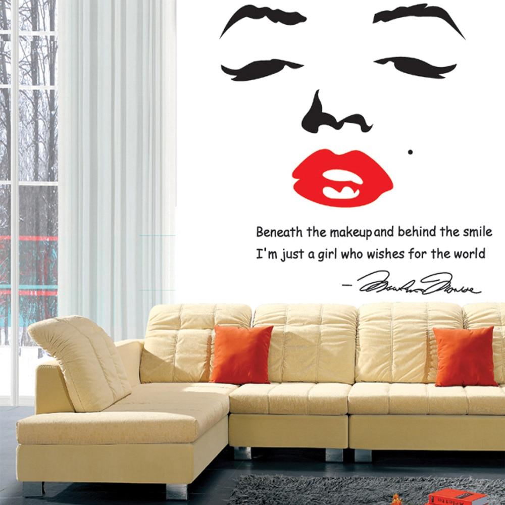 Marilyn monroe wall art roselawnlutheran portrait of marilyn monroe diy wall wallpaper stickers art decor mural room decal home decoration wall amipublicfo Gallery