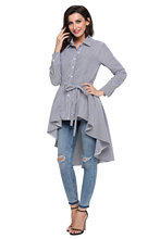 цена на Stripe Blouse Shirt Women New Fashion Blusas Office Ladies Autumn Long Sleeve Lapel High Low Belted Tunic Top C250364