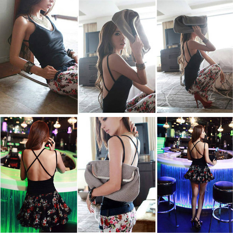 <font><b>Sexy</b></font> Women Summer Back Cross Strap Tank Top Camisole Padded Vest Night Club Tops KNG88 image