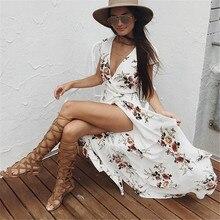 Women Summer boho sexy Beach Dress sexy V neck Slit Irregular floral Print Long Maxi vintage white plus big size dresses 2017