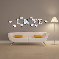 DIY 3D Mirror Acrylic LOVE Decal Wall Stickers With Clock Mechanism For Family Decoration Mordern Home Decor