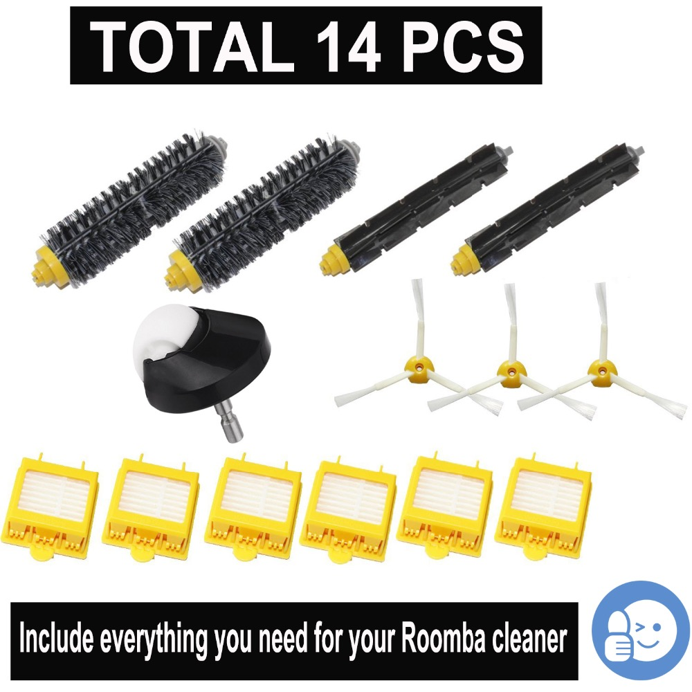 3-Arm Side Brush Hepa Filter Bristle Brush Flexible Beater caster wheel Kit for iRobot Roomba 700 760 770 780 790 cleaner part 14pcs lot side brush bristle flexible beater brush hepa filter for irobot roomba 700 760 770 780 series vacuum cleaners parts