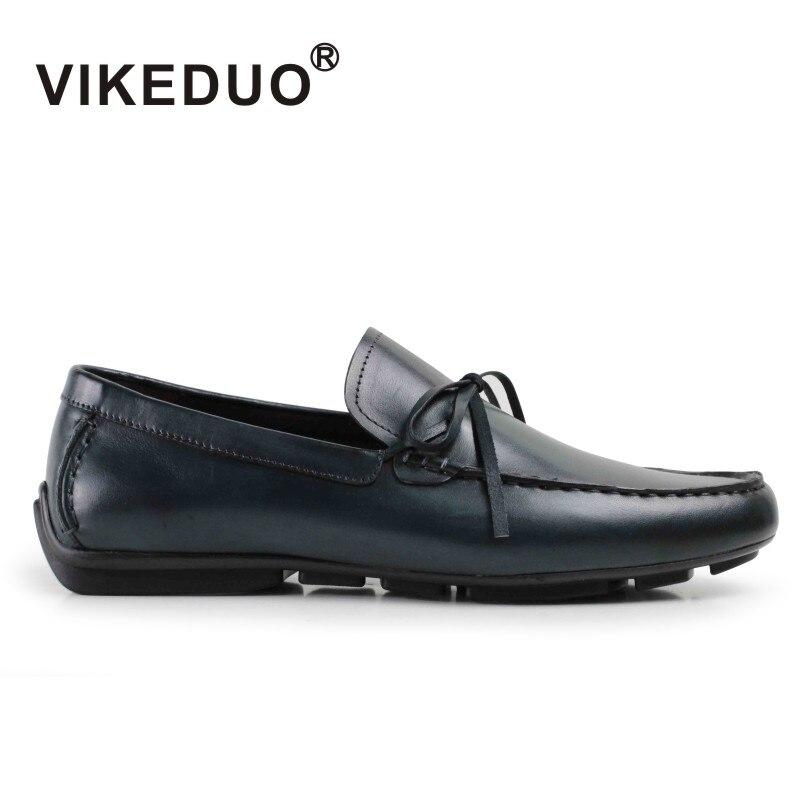 Vikeduo 2019 à la main Vintage mâle loisirs chaussure mocassin Gommino peint à la main de mode de luxe en cuir véritable hommes chaussures décontractées