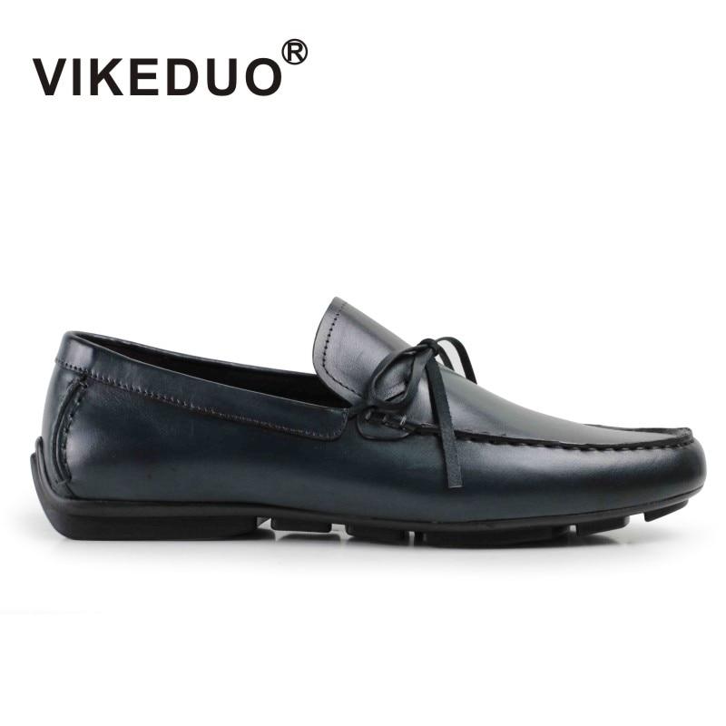 Vikeduo 2019 اليدوية خمر الذكور الترفيه حذاء الخف Gommino اليد رسمت الأزياء جلد طبيعي فاخر رجل حذاء كاجوال-في أحذية رجالية غير رسمية من أحذية على  مجموعة 1
