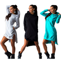 Boutique Hot 2016 New Autumn Fashion Sweet Irregular 100% Cotton Hooded Casual Dress Best-Selling