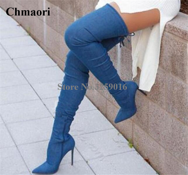 New Fashion Women Pointed Toe Blue Denim Over Knee Gladiator Boots Sexy Thigh High Long High Heel Boots Dress ShoesNew Fashion Women Pointed Toe Blue Denim Over Knee Gladiator Boots Sexy Thigh High Long High Heel Boots Dress Shoes