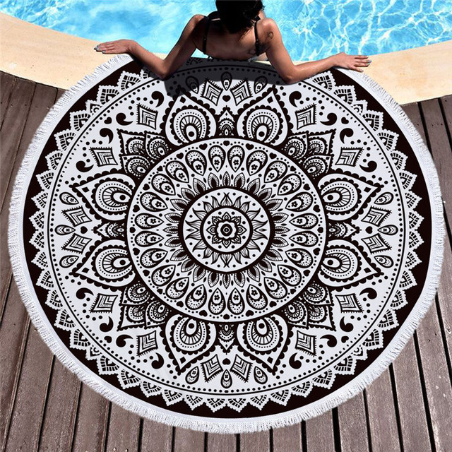 Mandala Microfiber Towel Fabric Beach Towel Cotton for Adult India Yoga Mat Tassel Blanket Large Round Bath Towel 150cm Tapestry