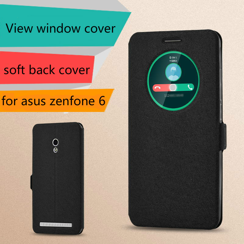 Flip Window Cover for <font><b>ASUS</b></font> Zenfone 6 Case View Window Leather Case for <font><b>ASUS</b></font> Zenfone 6 A600CG <font><b>T00G</b></font> Protective Phone Bag Fundas image