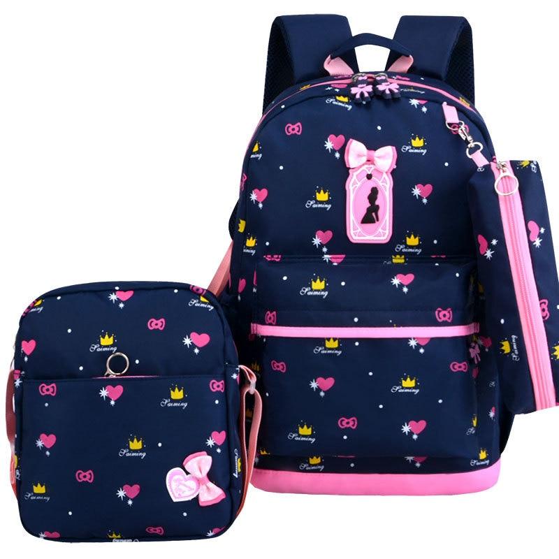 3 Pcs/set Cute Bow School Backpack For Girls Printing Girls School Bags Kids Backpack Girls Student School Bags Student Mochila