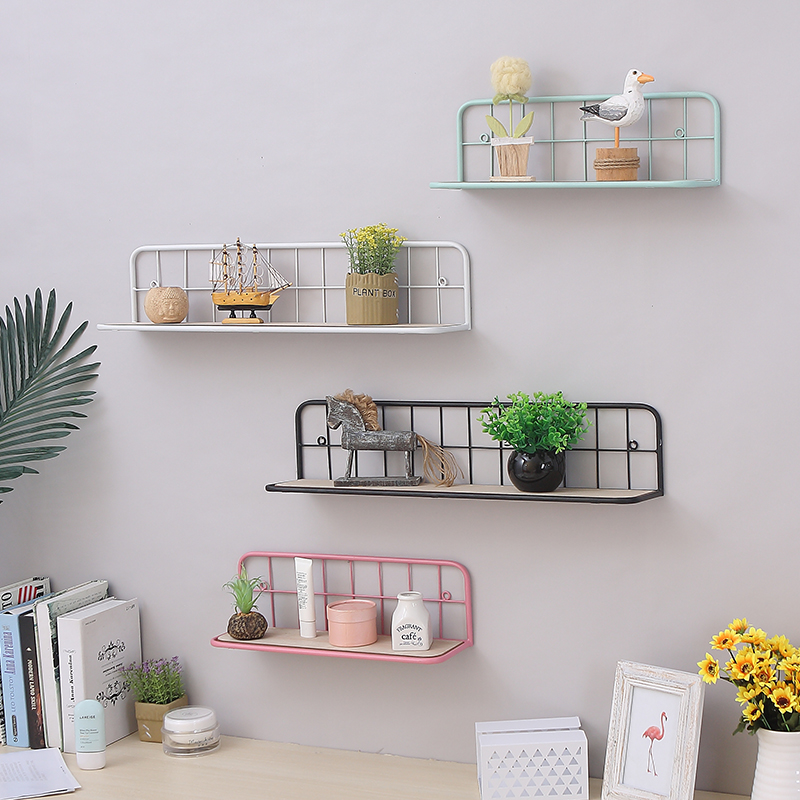 Hot Wooden Iron rack storage Shelf Wall Hanging Sundries organizer Flower Pot book holder home decor shelf