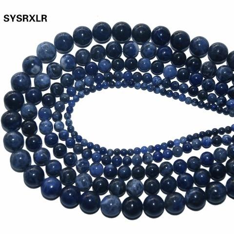 Купить оптовая продажа новые круглые бусины из натурального синего